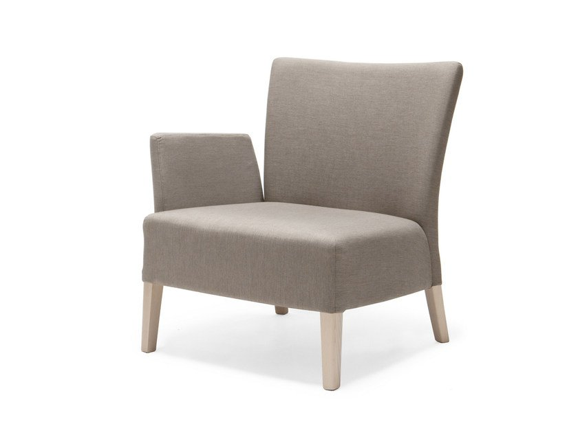 Upholstered fabric armchair with armrests NOBLESSE 215 by Origins 1971