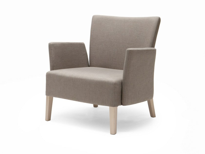 Upholstered fabric armchair with armrests NOBLESSE 216 by Origins 1971