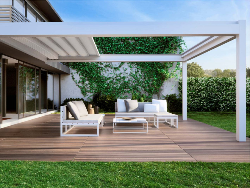Nomo wall mounted pergola pergolas collection by pratic orioli - Toile transparente pour pergola ...