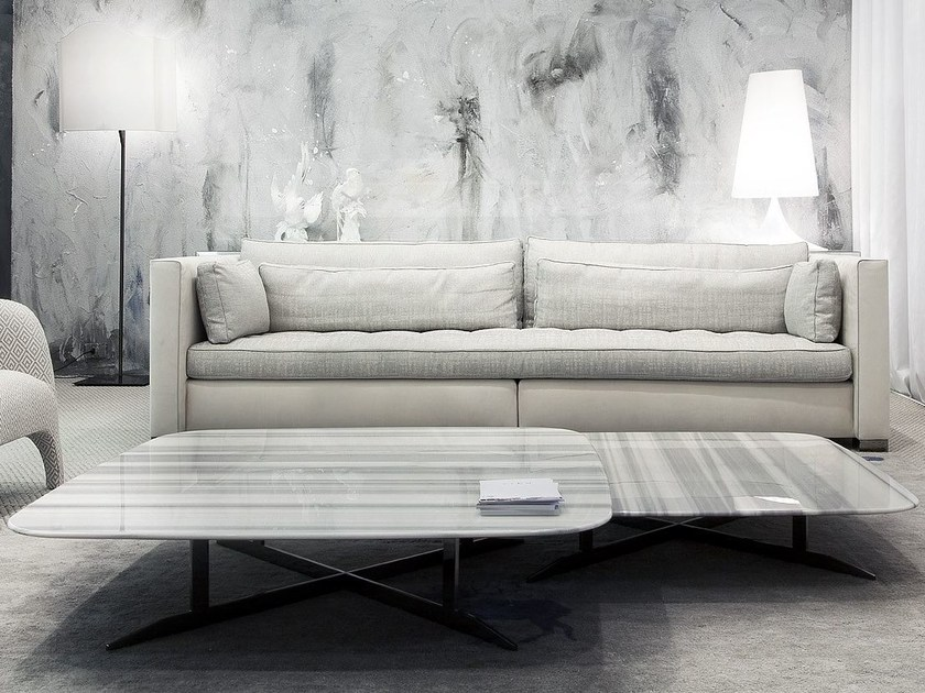 low rectangular marble coffee table for living room nord
