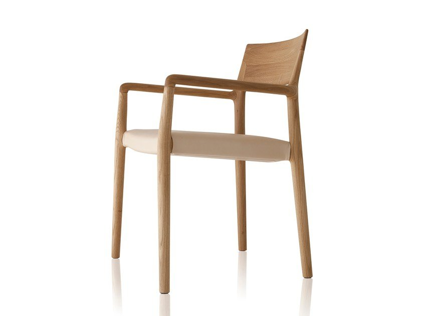 Upholstered solid wood chair with armrests NORMA | Upholstered chair - Sollos