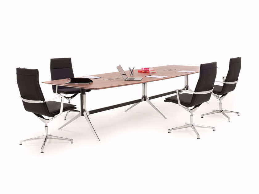 Height-adjustable rectangular meeting table with cable management NOTABLE MEETING | Rectangular meeting table - ICF