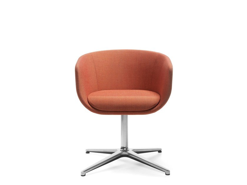 Swivel easy chair with 4-spoke base with armrests NU 10F/20F by profim