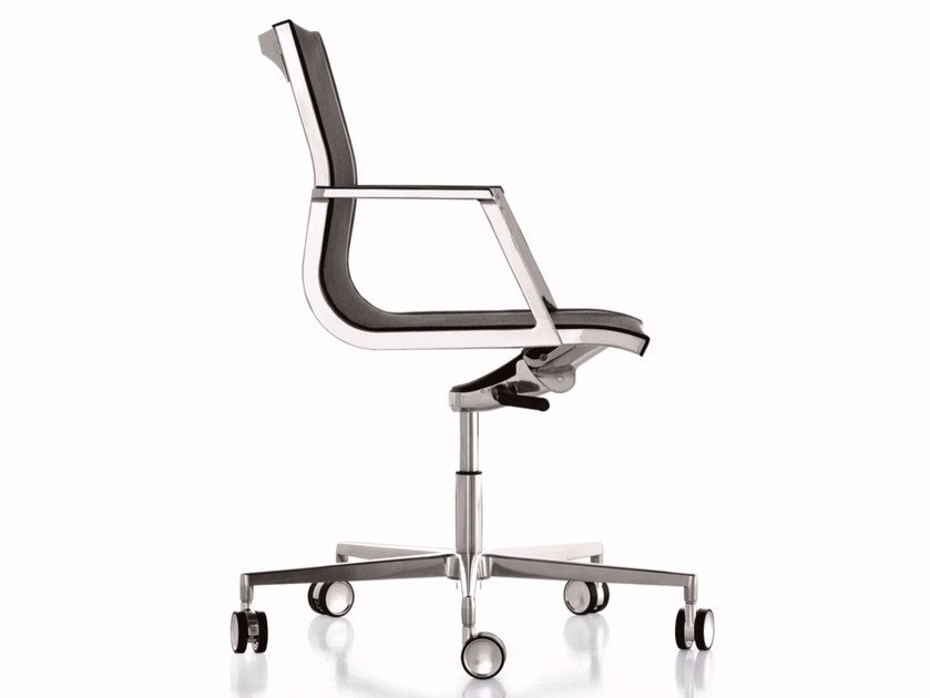 Mesh reception chair with 5-spoke base with casters NULITE | Chair with casters - Luxy
