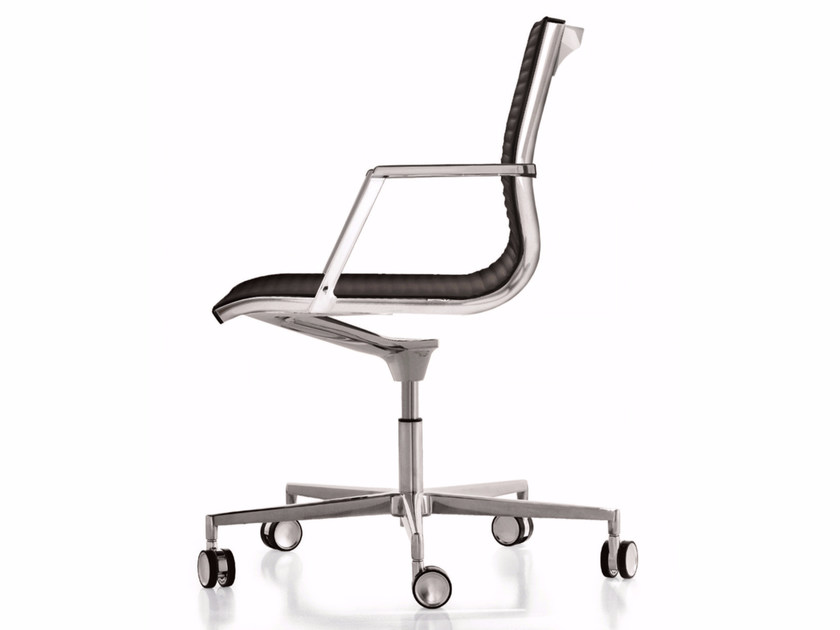 Leather reception chair with 5-spoke base with casters NULITE | Chair with casters - Luxy