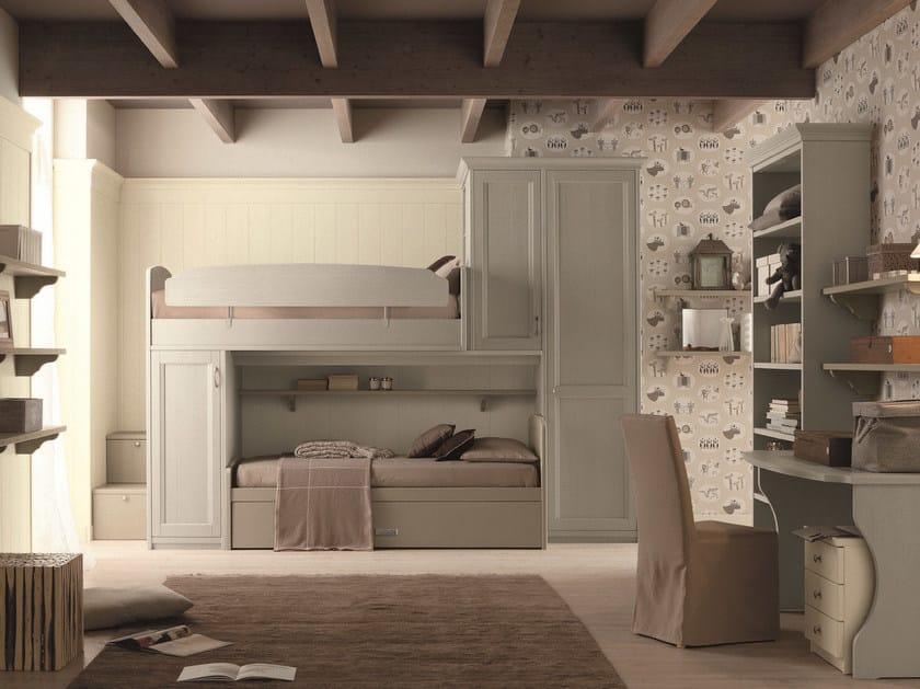 Loft solid wood bedroom set NUOVO MONDO N11 by Scandola Mobili