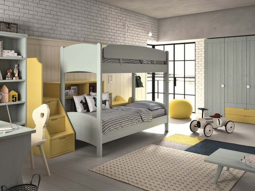 Solid wood bedroom set with bunk beds NUOVO MONDO N24 by Scandola Mobili