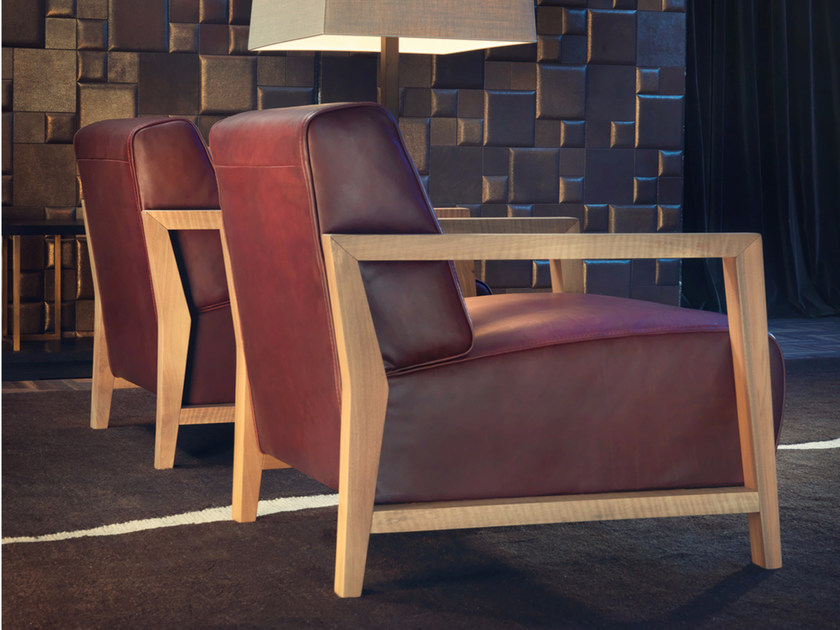 Leather armchair with armrests NYGEL by Borzalino