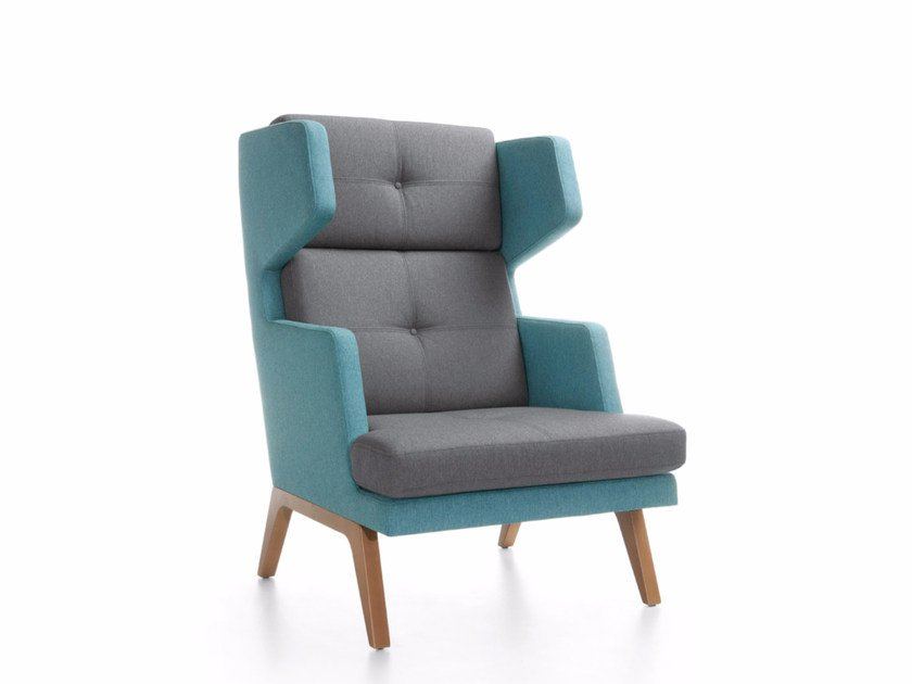 High-back fabric armchair OCTOBER 12 by profim