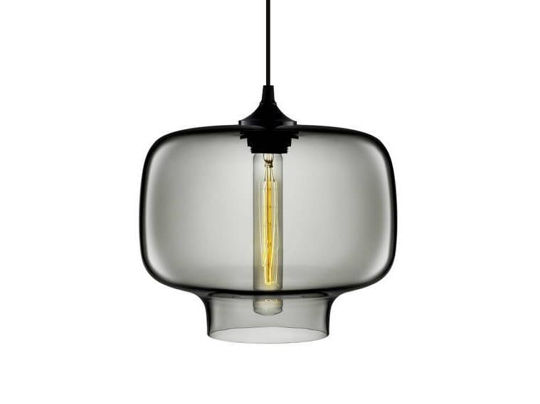 LED handmade blown glass pendant lamp OCULO by Niche Modern