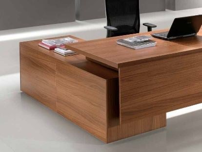 L-shaped wooden office desk with drawers ODEON | L-shaped office desk - Castellani.it