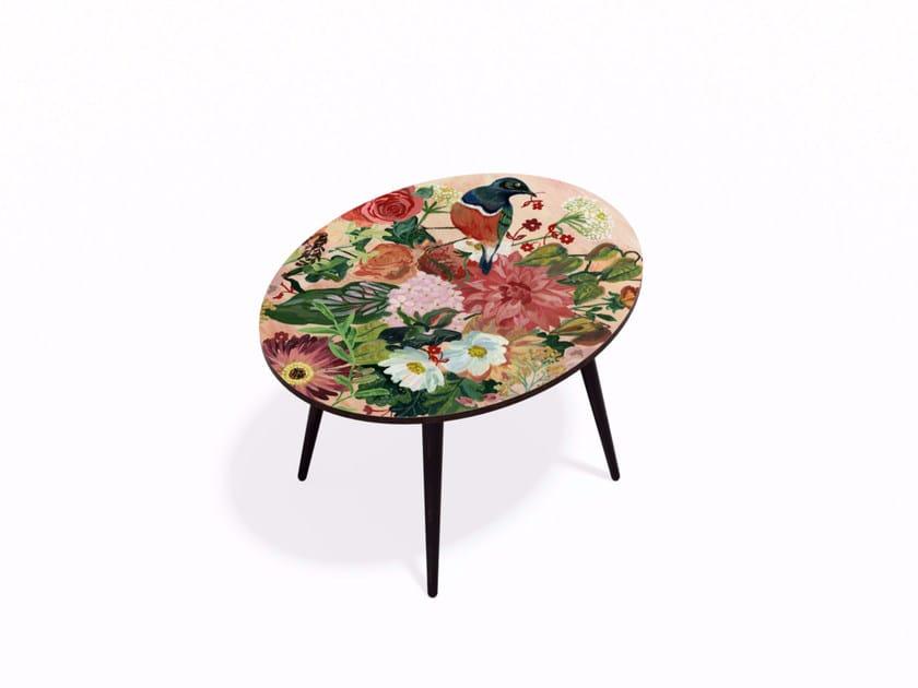 Tavolino ovale in HPL e faggio OISEAU LIBERTE L - Bazartherapy