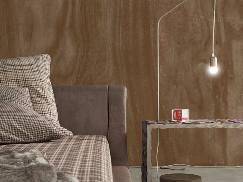 Carta da parati effetto legno panoramica OKUMÈ - Inkiostro Bianco