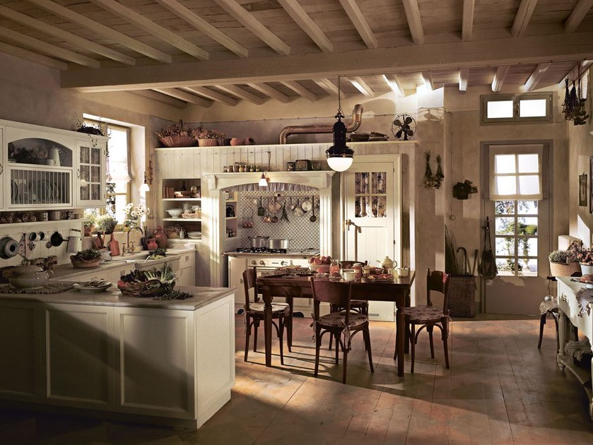 Fitted wood kitchen OLD ENGLAND - COMPOSITION 01 - Marchi Cucine