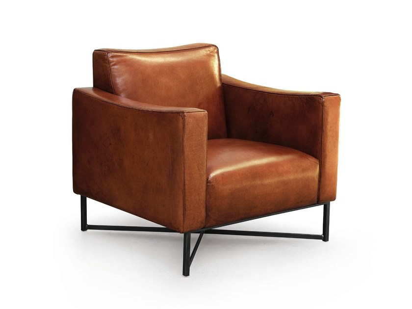 Leather armchair with armrests ONDA | Leather armchair - Oliver B.