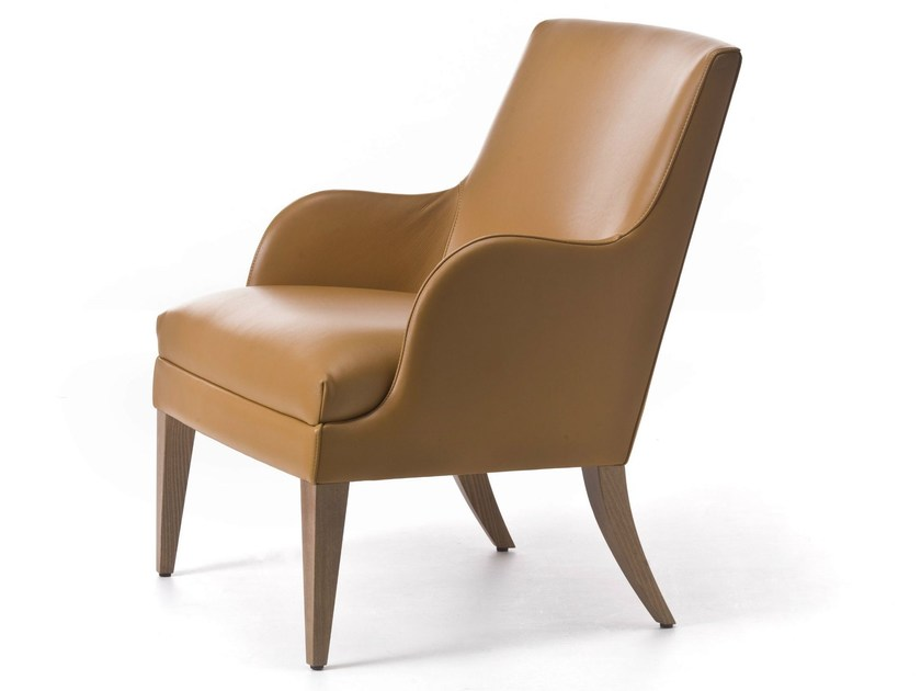 Upholstered leather armchair with armrests ONDA 04 - Very Wood