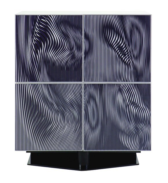 Lacquered resin highboard with doors OPTO - ROCHE BOBOIS