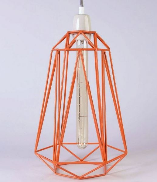 Metal pendant lamp / table lamp ORANGE CAGE GREY FABRIC WIRE by FILAMENTSTYLE