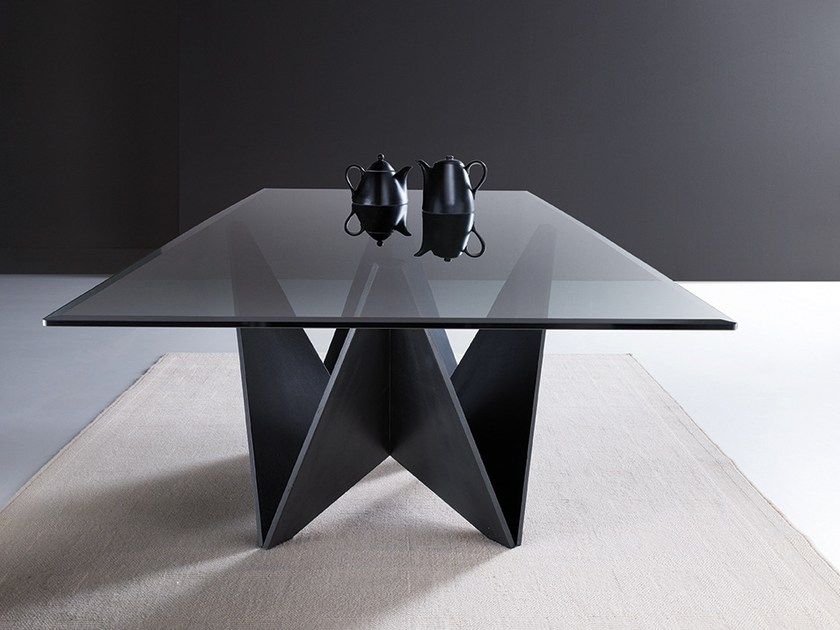 Rectangular wood and glass table ORIGAMI | Glass table by Natisa