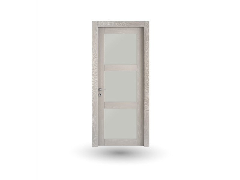 Hinged wood and glass door ORION 39v3 FRASSINO DECAPE' TORTORA - GD DORIGO