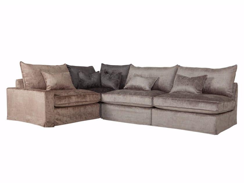 Corner sectional 3 seater velvet sofa OSCAR | Velvet sofa - SITS
