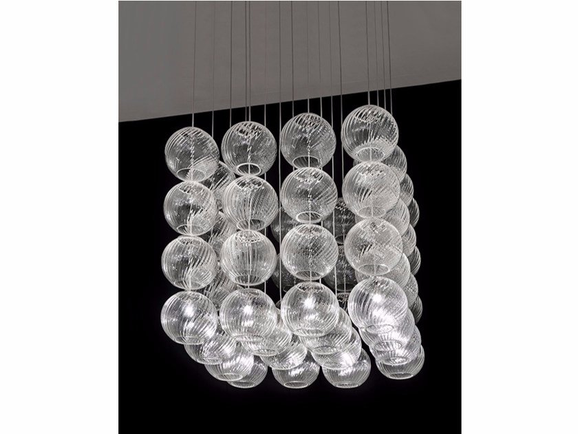 Blown glass pendant lamp OTO SP CUB - Vetreria Vistosi