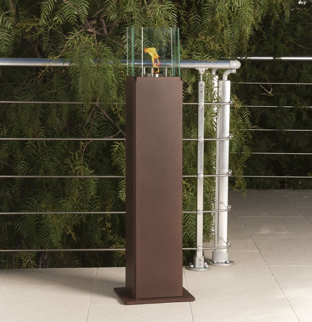 Outdoor bioethanol fireplace with panoramic glass TOTEM - Talenti