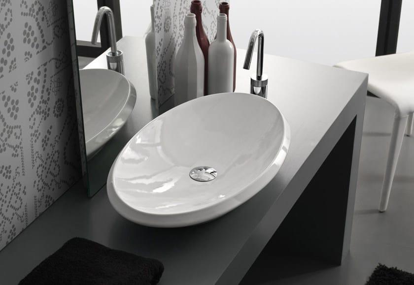 Countertop oval ceramic washbasin OVAL - Hidra Ceramica