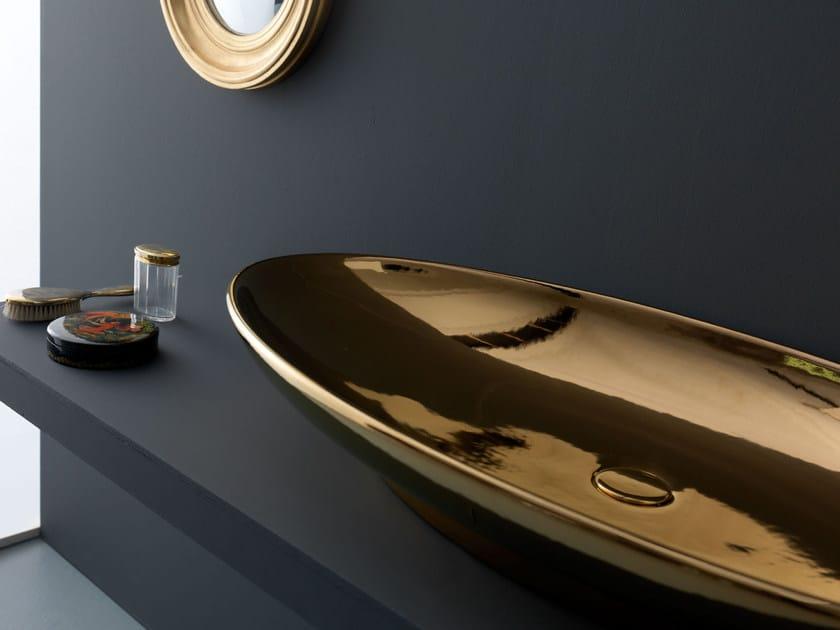Countertop oval ceramic washbasin SELFIE LUXURY BRONZE - Alice Ceramica