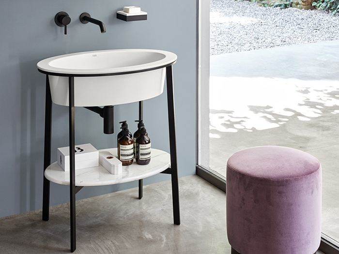 Floor-standing single vanity unit CATINO OVALE - Ceramica Cielo