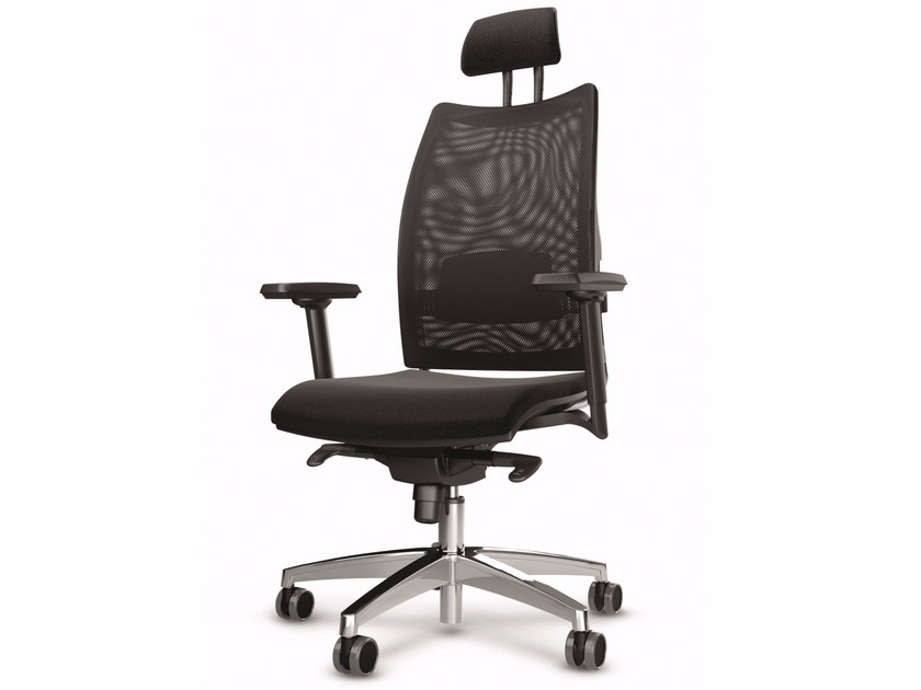Height-adjustable mesh executive chair with 5-spoke base with headrest OVERTIME | Mesh executive chair - Luxy