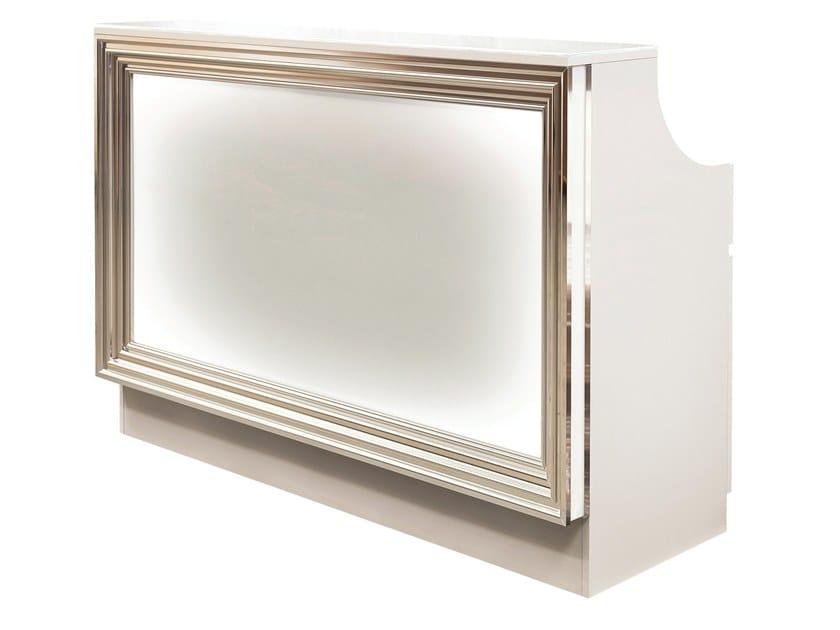 Banco reception per ufficio in legno e vetro con for Banco ufficio
