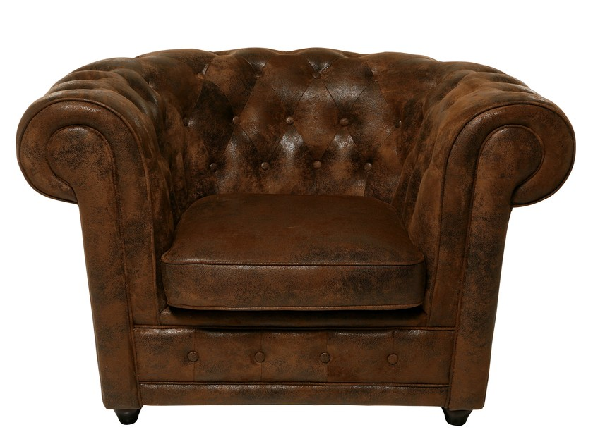 Tufted upholstered leather armchair OXFORD VINTAGE ECO | Armchair - KARE-DESIGN