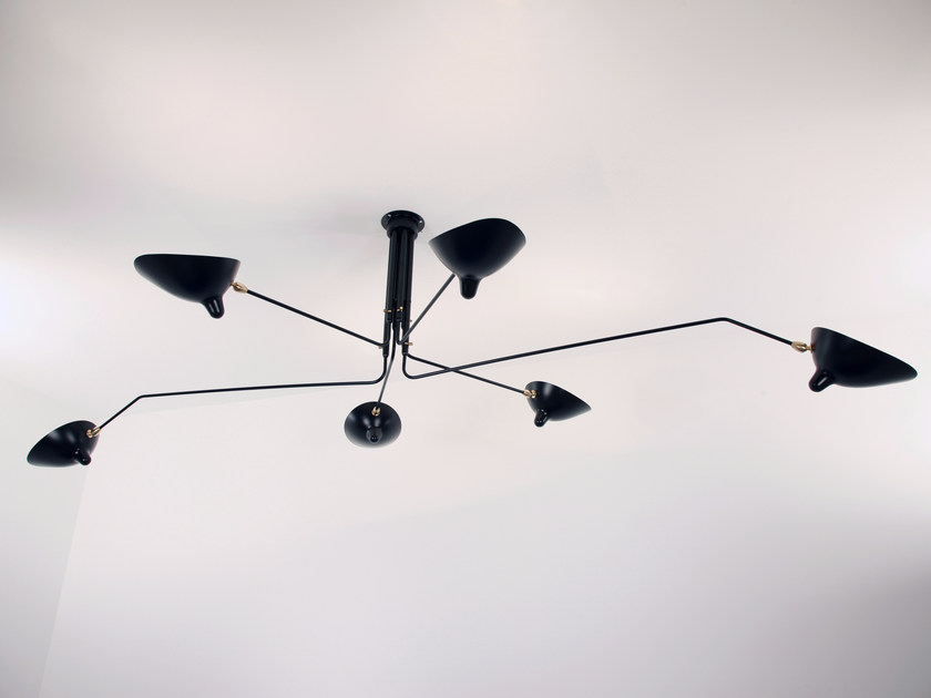 Adjustable metal ceiling lamp P6B | Ceiling lamp - Editions Serge Mouille