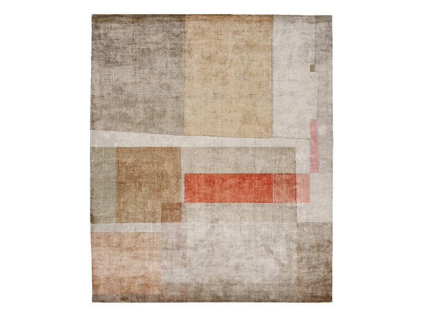 Handmade rectangular silk rug P93 LOVE SUBLIME (KAFELE EDIT) by HENZEL STUDIO