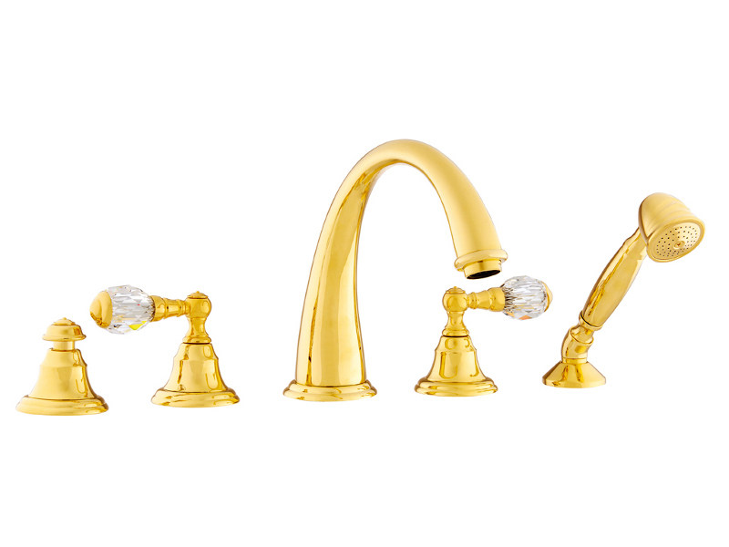 5 hole bathtub set with Swarovski® crystals PACIFICA | Bathtub set with Swarovski® crystals - Bronces Mestre