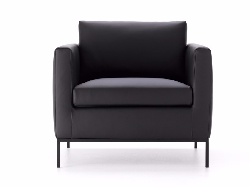 Upholstered leather armchair with armrests PAD 3.0 | Leather armchair - MDF Italia