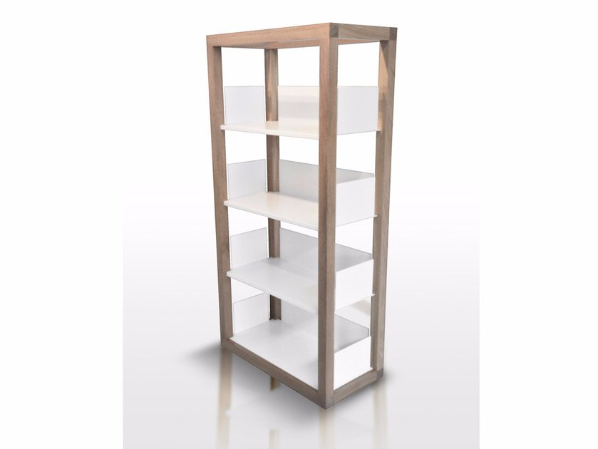 Freestanding steel and wood bookcase PAGINA - Paolo Castelli