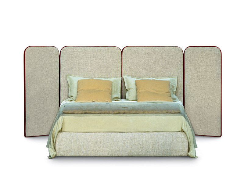 Upholstered double bed with high headboard PALAZZO - arflex