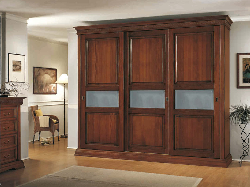 Solid wood wardrobe with sliding doors PALLADIO | Wardrobe with sliding doors by Arvestyle
