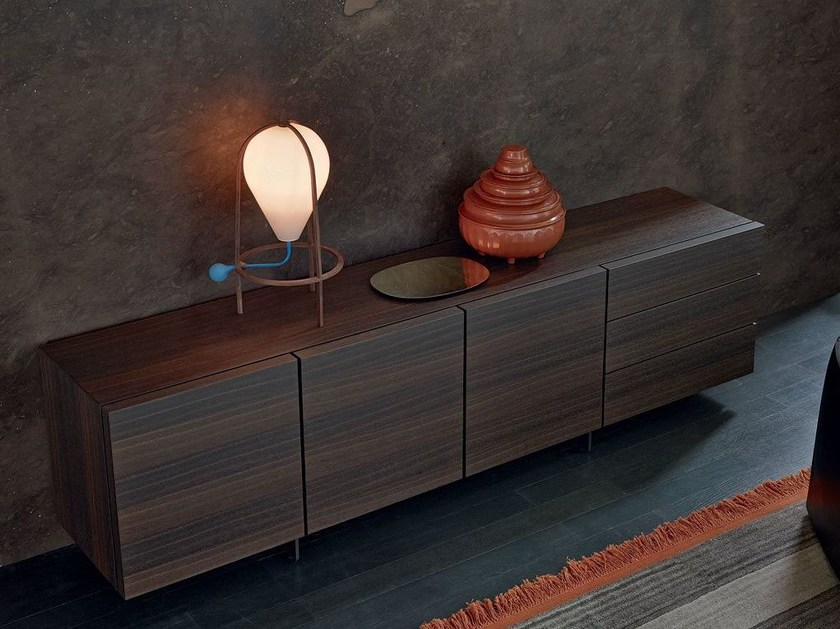 Wood veneer sideboard with doors PANDORA | Sideboard - Poliform