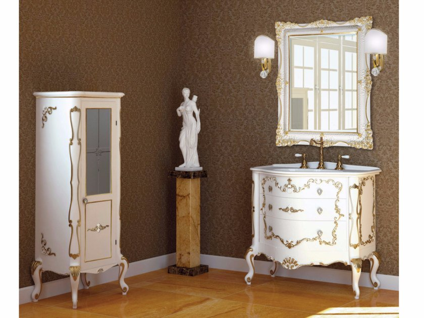 Lacquered vanity unit with drawers with mirror PANTHEON CM04PH by LA BUSSOLA