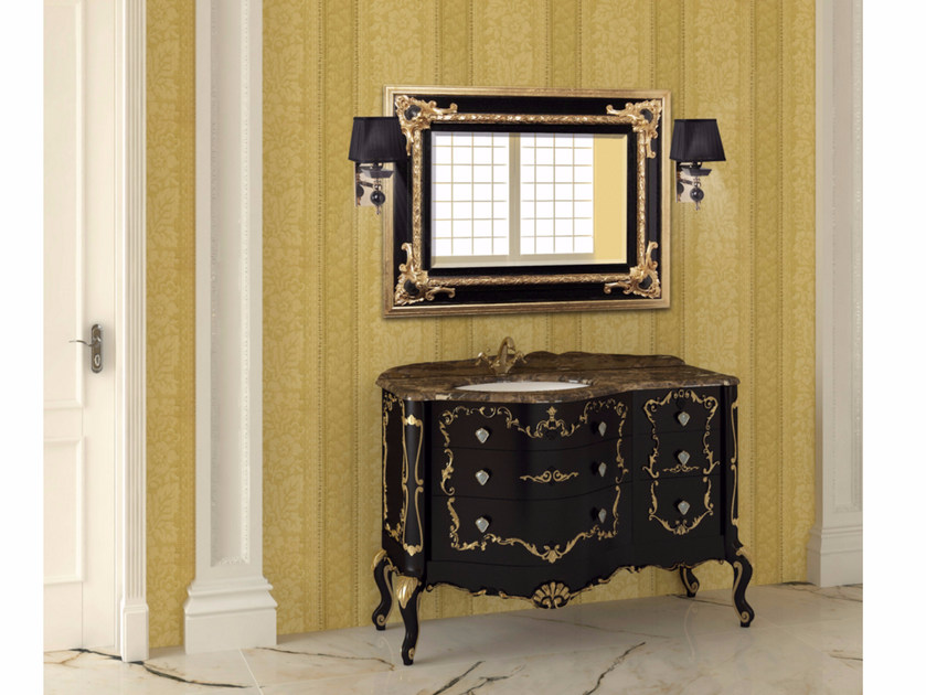 Lacquered vanity unit with drawers with mirror PANTHEON CM05PH - LA BUSSOLA