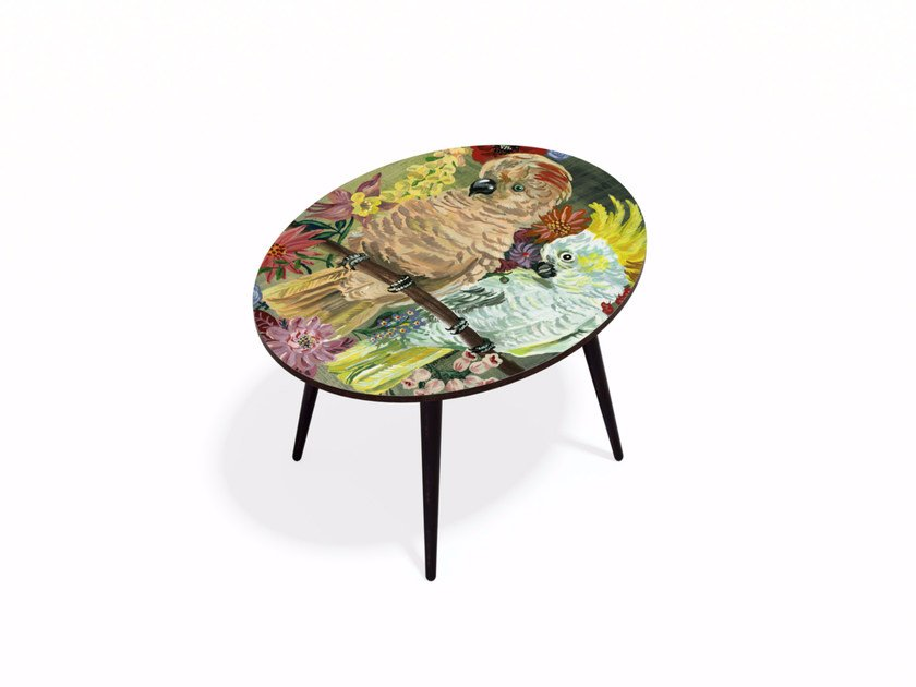 Oval Beech wood and HPL coffee table PARAKEET L - Bazartherapy