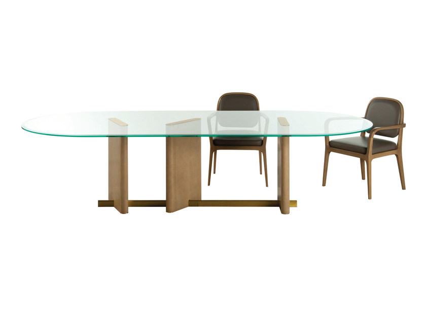 Oval wood and glass dining table PARIS PANAME | Table by ROCHE BOBOIS