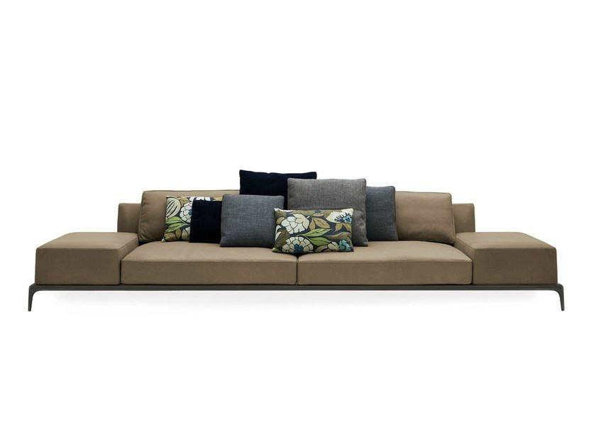 Sectional leather sofa with removable cover PARK | Leather sofa - Poliform