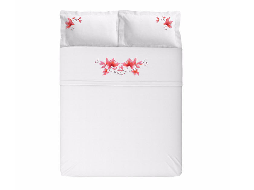 Linen bedding set with floral pattern PEACH BLOSSOM KING SET | Linen bedding set by Sans Tabù