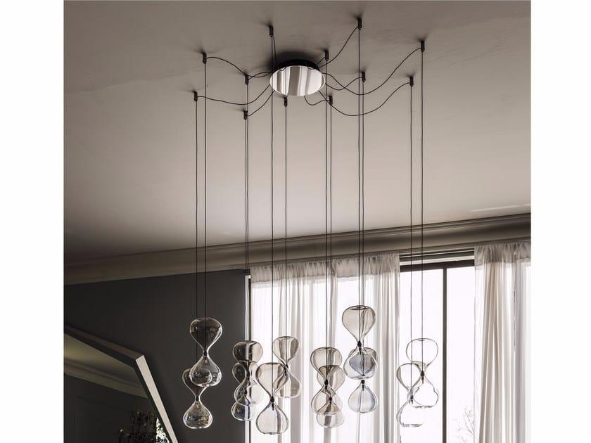 lampada a sospensione in acciaio e cristallo sablier | lampada a ... - Lampade Arabe Italia
