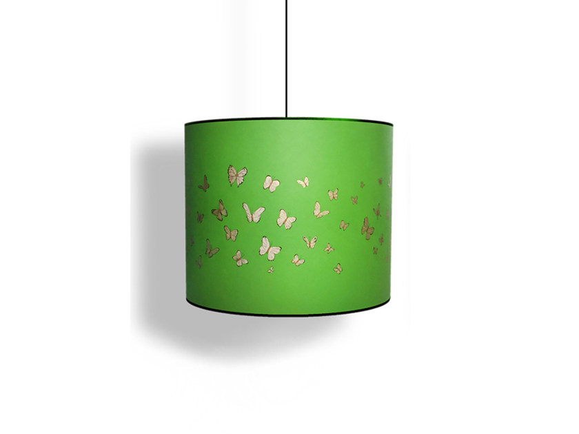 Paper pendant lamp / lampshade BUTTERFLIES GREEN - Kappennow