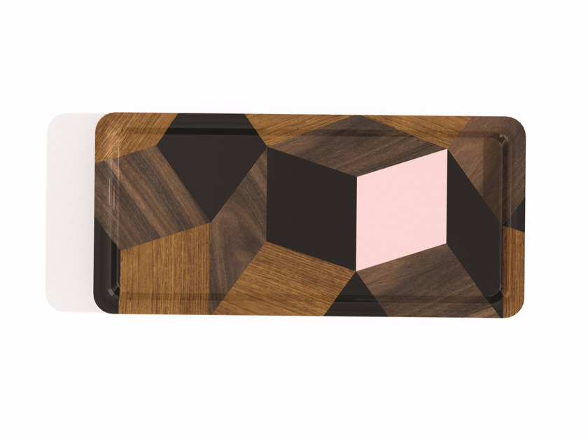 Rectangular multi-layer wood tray PENROSE THE SPRINGWOOD by Bazartherapy